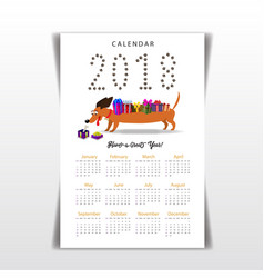 Creative calendar with cute cartoon dachshund vector