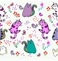 cute cat seamless pattern with little bird vector image