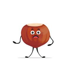 cute hazelnut character cartoon mascot nut healthy vector image