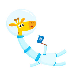 cute little giraffe animal astronaut spaceman vector image