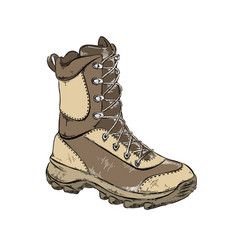 Drawing boot in brown color isolated on vector