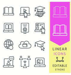e-learning education icons set graduation cap vector image