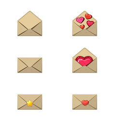 Envelope and heart stamp a love message empty a vector