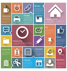 Flat design interface icon set 6 vector image