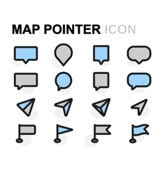 flat map pointer icons set vector image