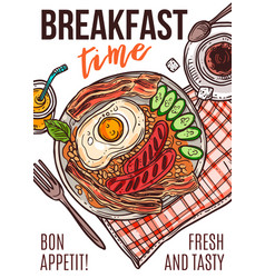fresh breakfast hand drawn poster template vector image