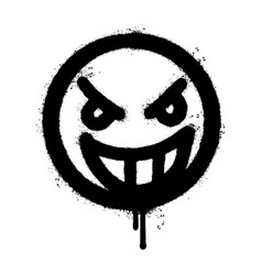 Graffiti angry face emoticon sprayed isolated vector