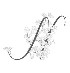 Hand drawn floral n monogram and logo vector