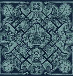 Hand drawn floral pattern tile background grunge vector