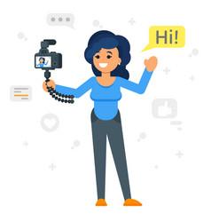 happy blogger girl vector image