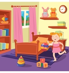 Happy Girl Playing Ball in Children Bedroom vector