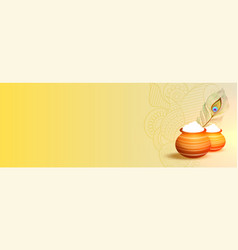 Happy janmashtami festival banner with text space vector
