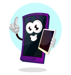happy mobile emoji with another phone in his hand vector image