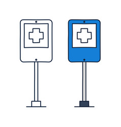 hospital road sign with cross icon icon in doodle vector image