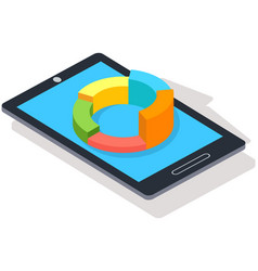 interface with sectorized pie chart on smartphone vector image
