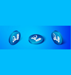 Isometric tow truck icon isolated on blue vector