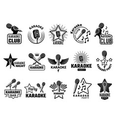 karaoke event music party symbols emblems with vector image