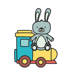 kids toy cute rabbit and train wagon toys vector image