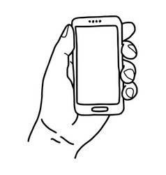 left hand holding small mobile phone - vector image