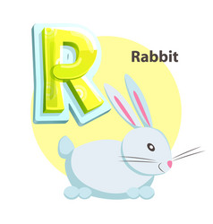 letter r for rabbit cartoon alphabet for children vector image