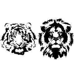 Lion and tiger heads in black interpretation vector