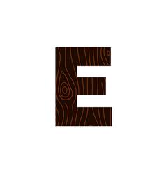 logo letter e wood texture vector image