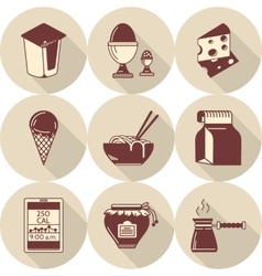 Lunch brown flat style icons set vector image