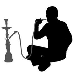 Man smoking nargila vector