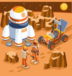 Mars exploration isometric vector