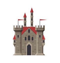medieval stone castle fairytale fortress with red vector image