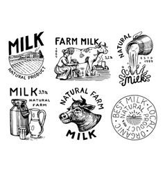 milk set cow and woman farmer milkmaid and jug vector image