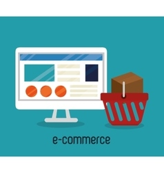 monitor pc e-commerce shop online design vector image
