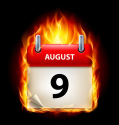 Ninth august in calendar burning icon on black vector