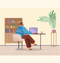 office worker sits at table works at laptop cup vector image