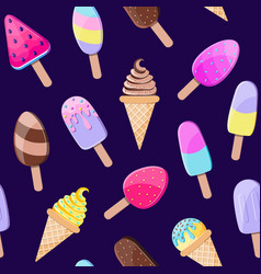 pattern with colorful ice cream vector image