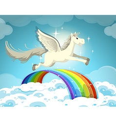Pegasus flying over the rainbow vector