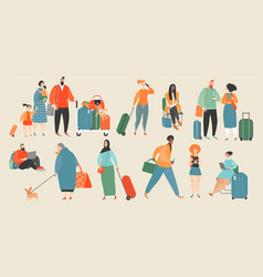 people at the airport vector image