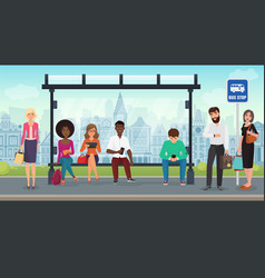 people were sitting at modern bus stop vector image