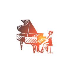 piano classic musician woman vector image