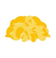 pile potato chips isolated fast food fried vector image