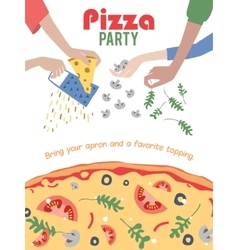 Pizza Party Invitation Poster Flyer Dinner vector