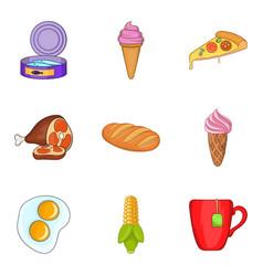 Pleasant breakfast icons set cartoon style vector