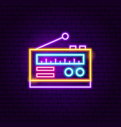 radio neon sign vector image