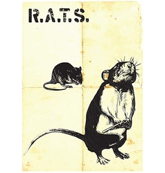 Rats rat with gun - freehand drawing vector