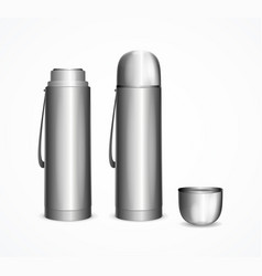 Realistic detailed 3d silver blank thermos vector