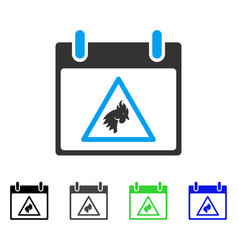 Rooster warning calendar day flat icon vector