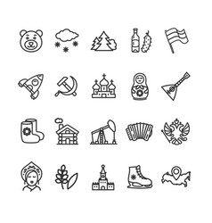 russia travel and tourism black thin line icon set vector image
