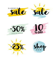 salebrush stroke simple discount icons set vector image