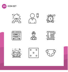 Set 9 modern ui icons symbols signs for vector