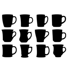 set different cups and mugs vector image